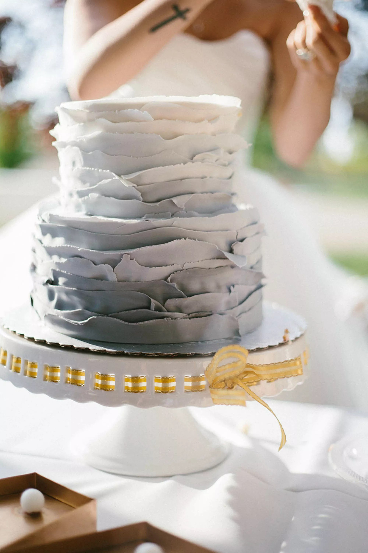 White And Gray Ombre Fondant Wedding Cake