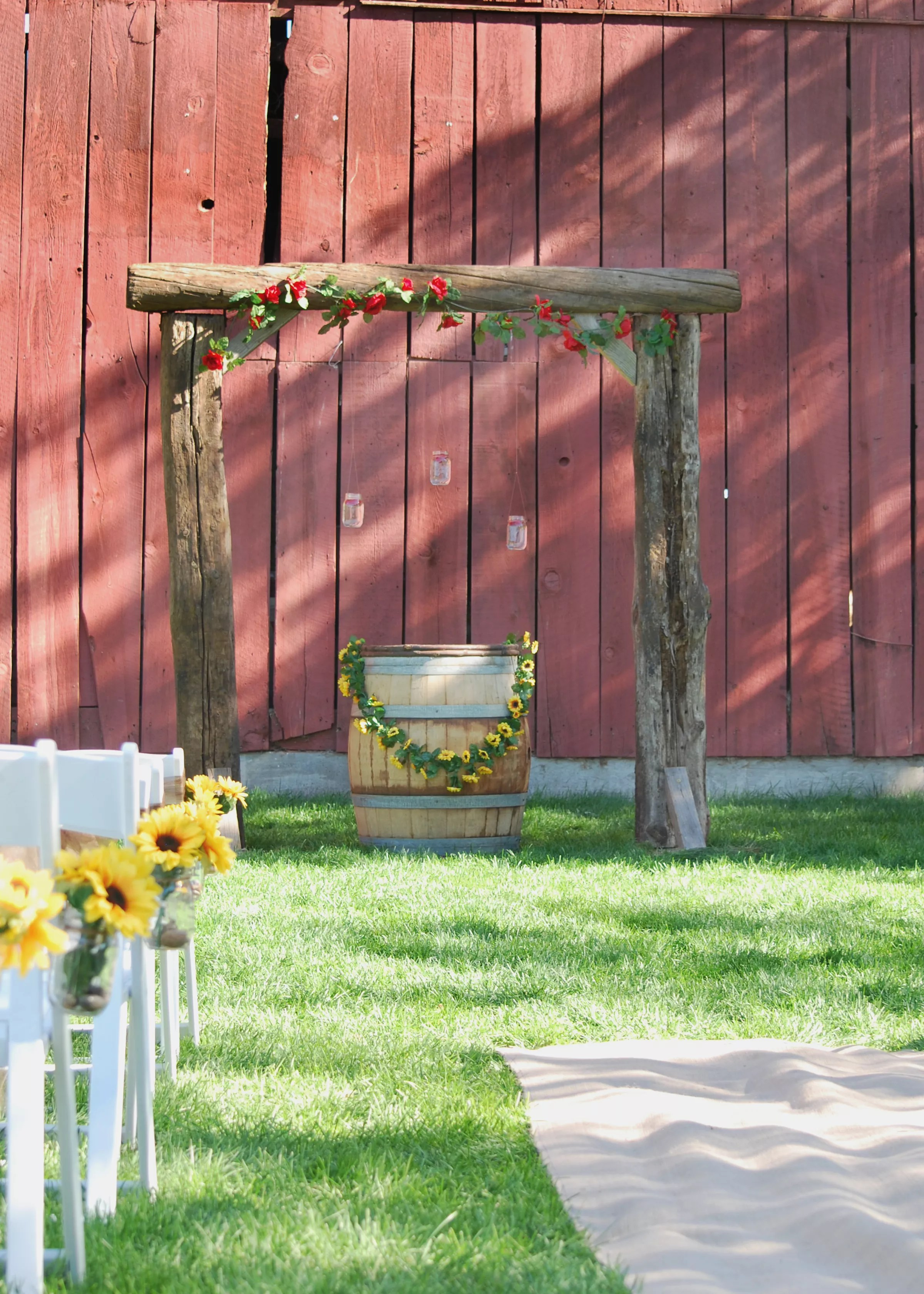 Rose And Sunflower Wedding Arch