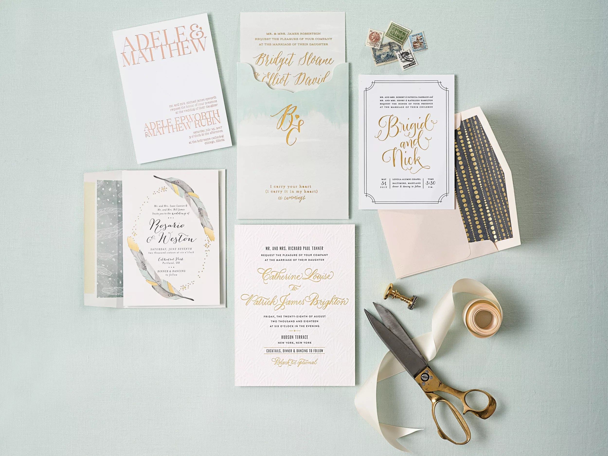 Fabulous Gold Foil Wedding Invitations