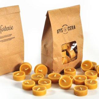 Beeswax tea lights candles - Hortense - set of 19 refill