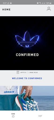 Screenshot of Adidas Confirmed