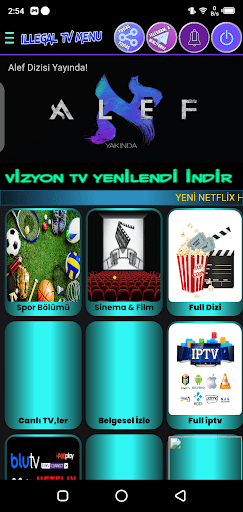 Screenshot of Illegal VIP TV App