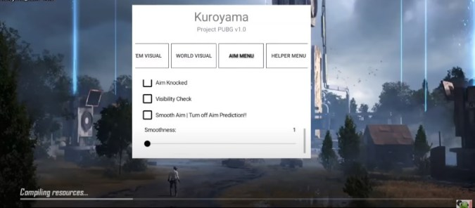 Screenshot of Kuroyama PUBG Hack