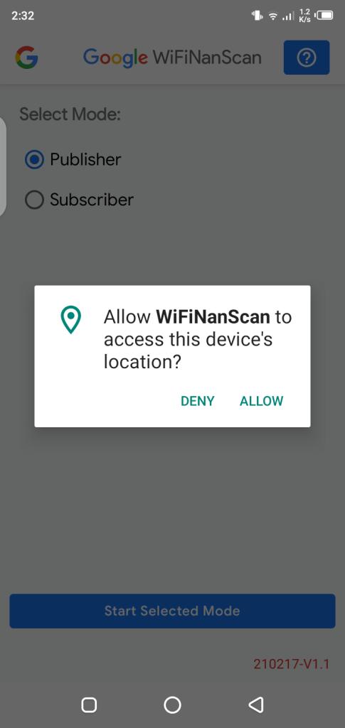 Screenshot of WifiNanScan App
