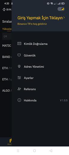 Screenshot of Binance TR Android