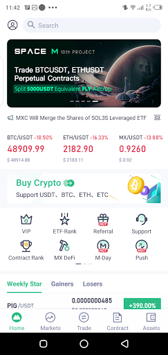 Screenshot of MXC Exchange App