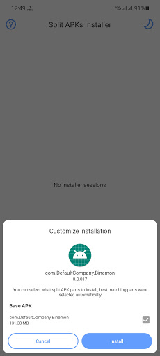 Screenshot of Binemon App