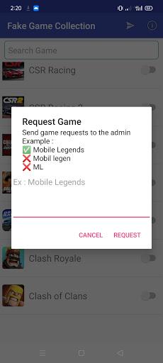 Screenshot of Fake Game Collection App