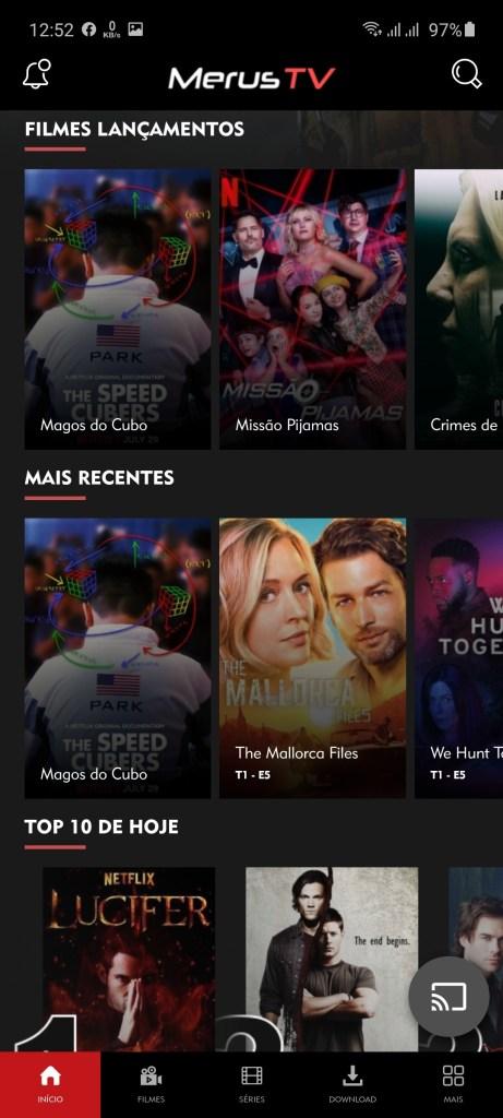 Screenshot of Merus TV App