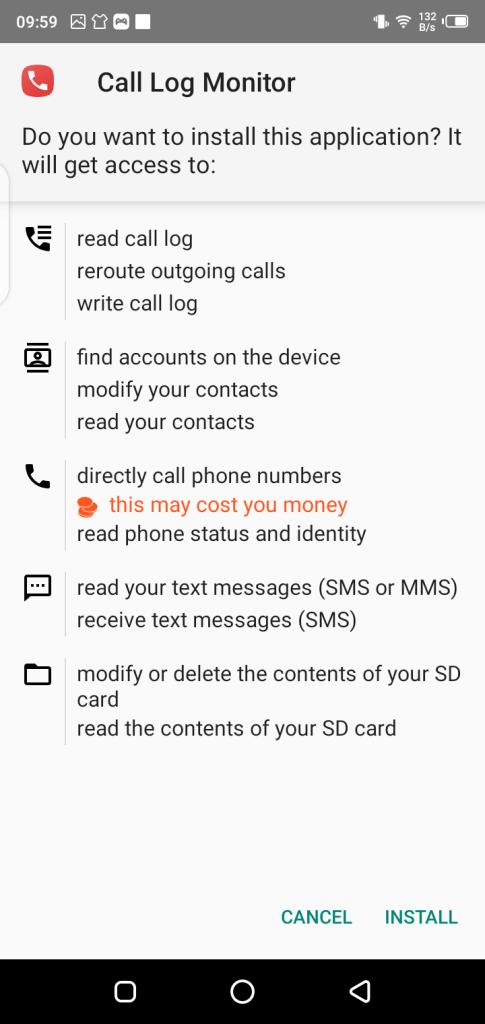 Screenshot of Call Log Monitor Pro