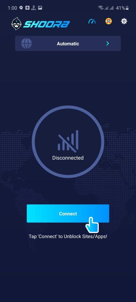 Screenshot of Shoora VPN App