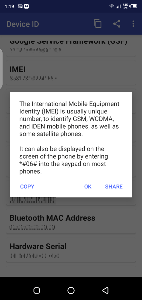 Screenshot of Device ID Free Fire Android