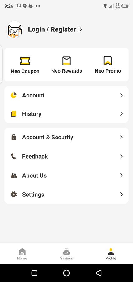 Screenshot of Neo+ App