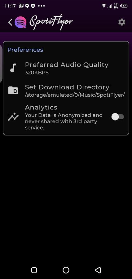 Screenshot of Spotiflyer 2021