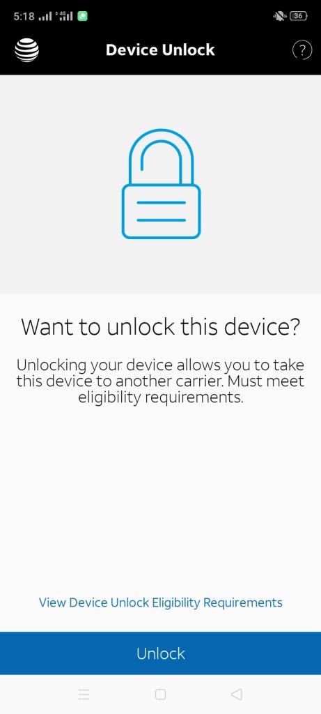 Screenshot of AT&T Device Unlock App
