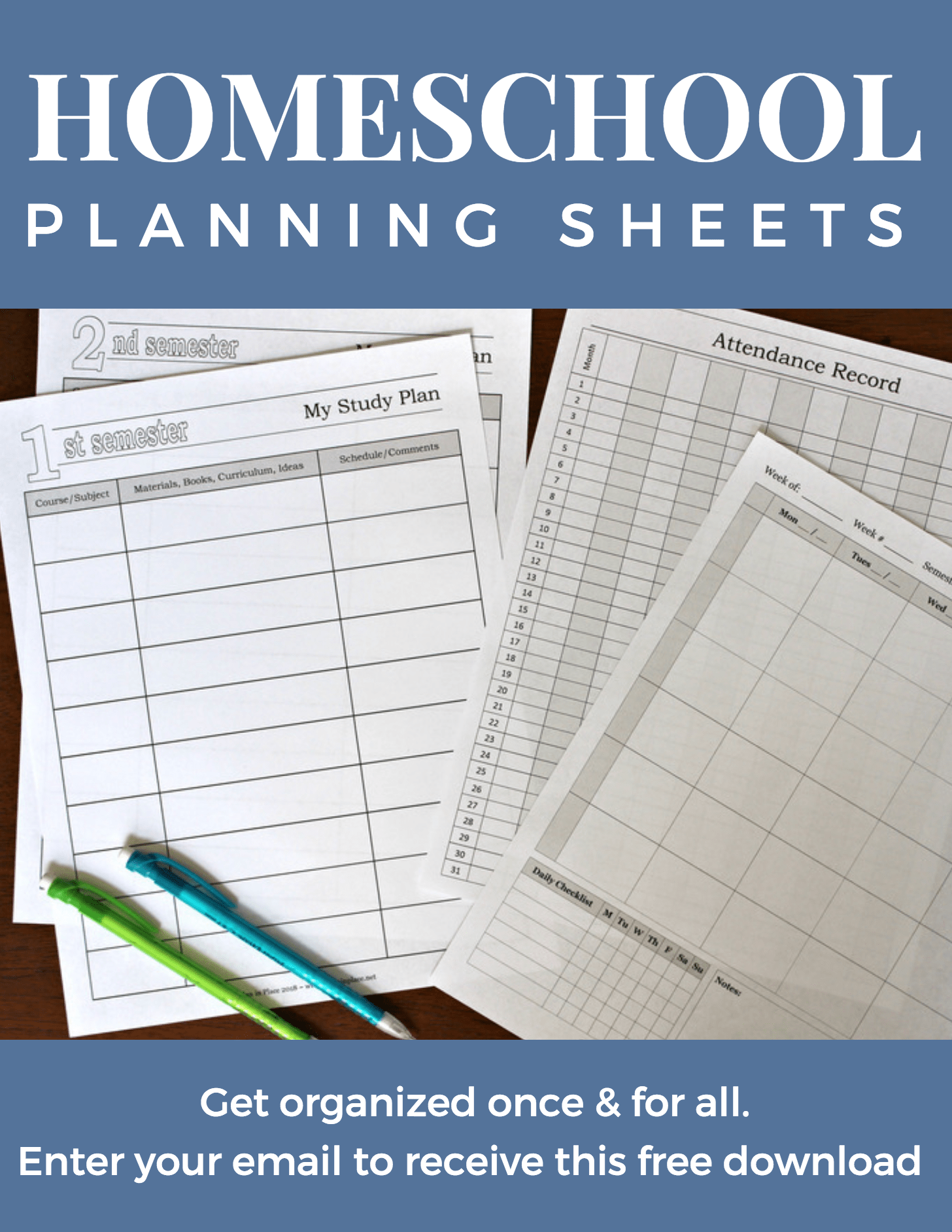 Customized Printable Homeschool Planner