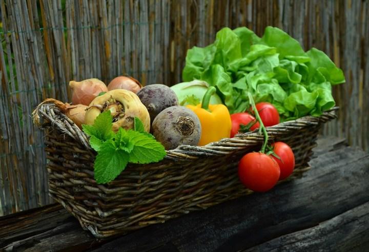 Basket of fresh vegetables.