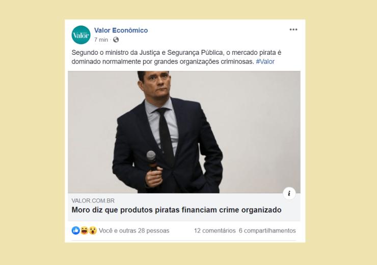 Post de Jornal onde ministro declara que produto pirata financia crime organizado