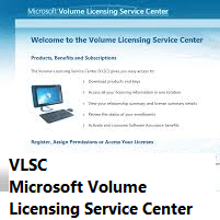 Imagem do VLSC - Microsoft Volume Licensing Service Center