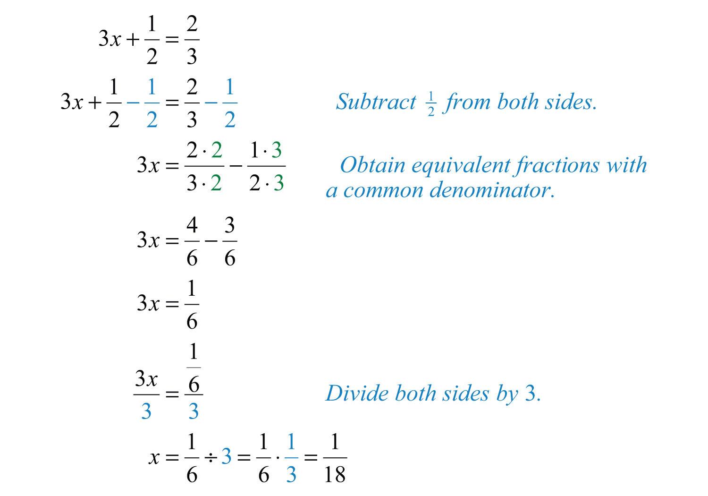 Elementary Algebra Skill Solving Linear Equations