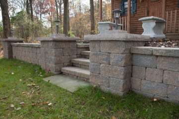 natural stone block wall and patio in Stevens, PA