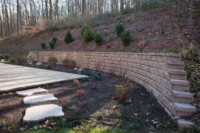 natural stone block wall and patio in Reinholds, PA