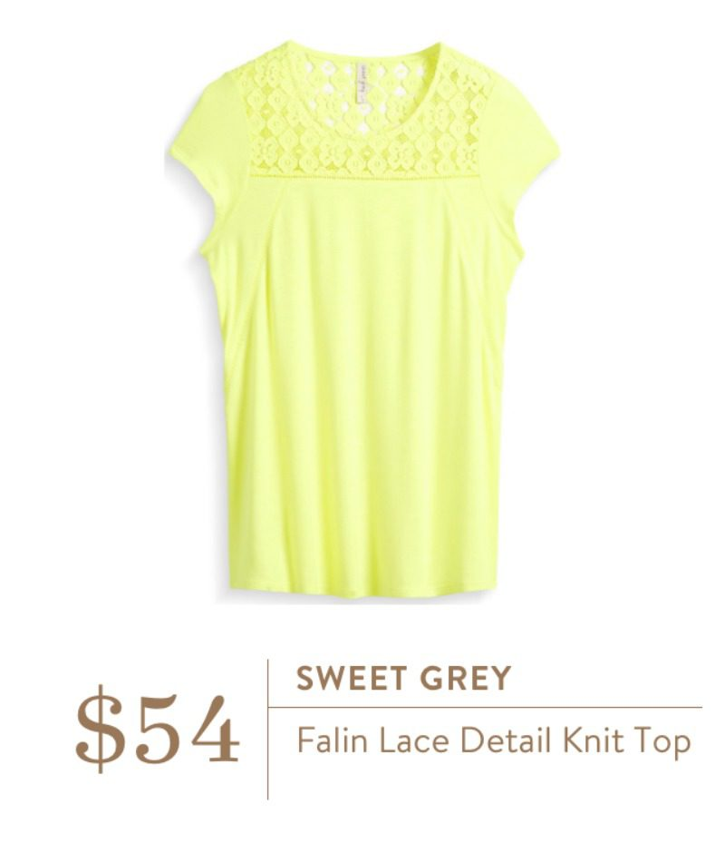 Stitch Fix Sweet Grey Falin Lace Detail Knit Top