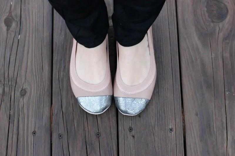 Yosi Samra Samantha Metallic Toe Ballet Flats