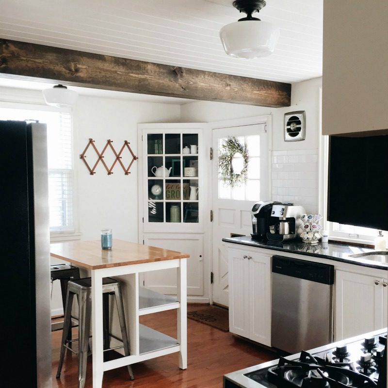planked ceiling, wood planked ceiling, faux beam, tongue and groove ceiling, tongue and groove, how to plank a ceiling, tongue and groove how to, ceiling plank diy, #whitekitchen #fauxbeam #plankedceiling