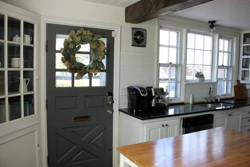 Kendall Charcoal kitchen, Kendall Charcoal, Kendall charcoal kitchen door, gray kitchen door, kitchen door ideas, kitchen doors to outside, farmhouse kitchen door, farmhouse kitchen, small farmhouse kitchens, farmhouse kitchen pictures, ideas for painting interior doors