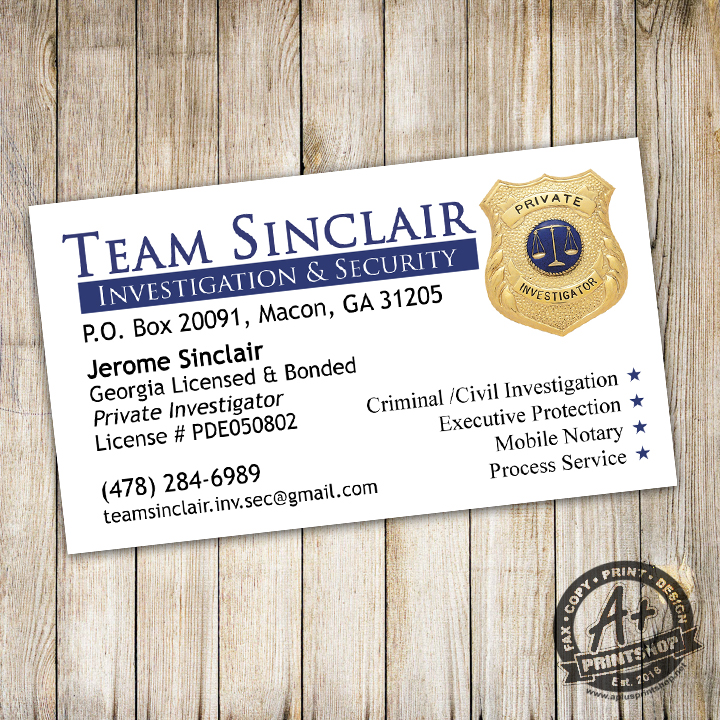 Team Sinclair Investigation and Security – A Plus Print Shop