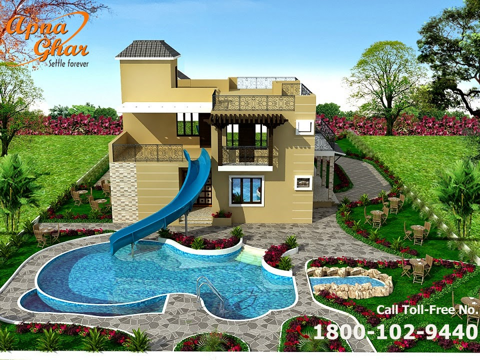 Bungalow House Design | ApnaGhar- House Design on Bungalow Backyard Ideas id=99211