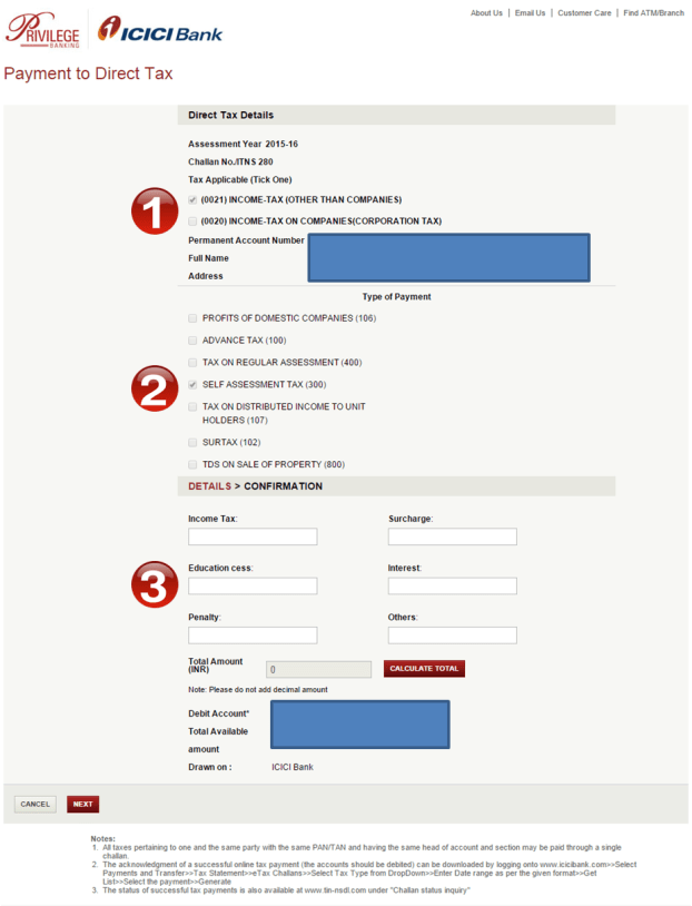 Challan 280 - Pay Online - ICICI Bank