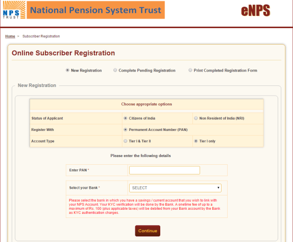Open NPS Account Online through eNPS Portal