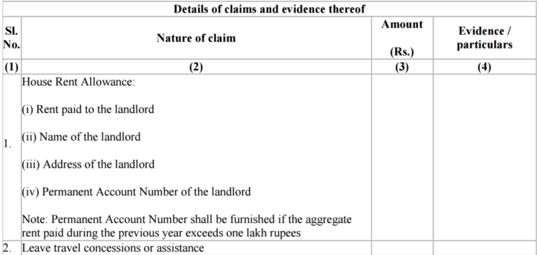 Claim HRA and LTA using Form 12BB