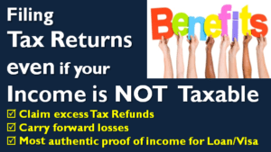 Filing ITR when income is NOT Taxable