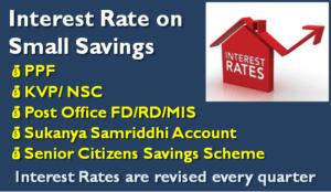 Latest Small Saving Schemes Interest Rate