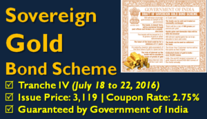 Sovereign Gold Bond Tranche IV - July 2016