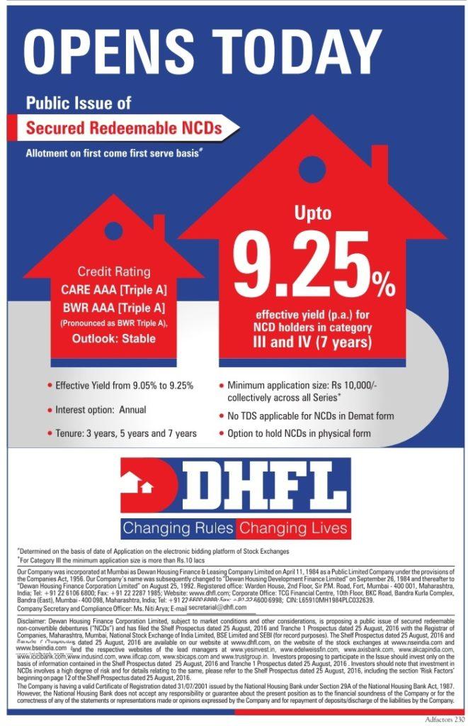 DHFL NCD Advertisement Aug 2016