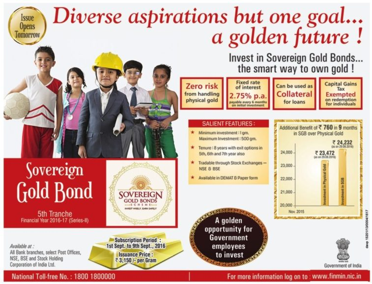 Sovereign Gold Bond Tranche V - Sep 2016 - Advertisement
