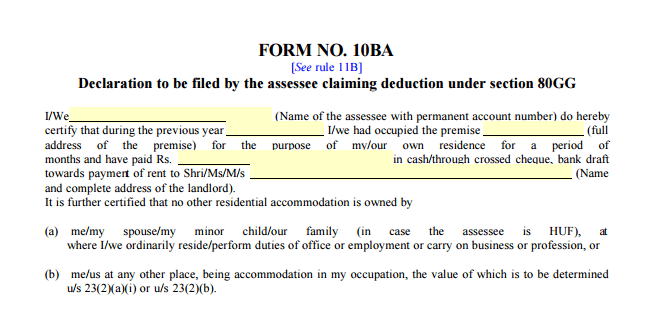 Form 10BA to claim Tax deduction on Rent paid - Section 80GG