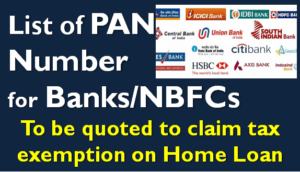 List of PAN Number for Banks & Home Loan Lenders