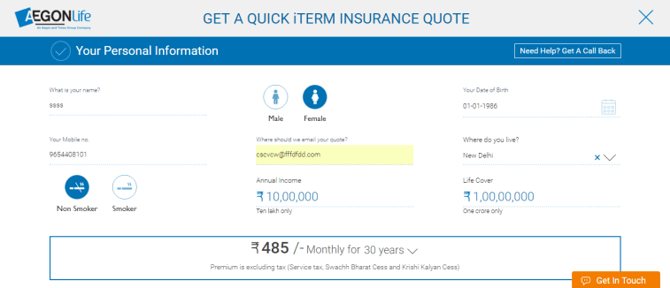 AegonLife iTerm Insurance Plan - Discount for Women