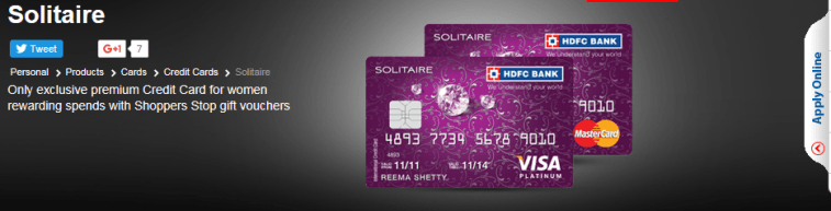 HDFC Bank Solitaire Credit Card for Women