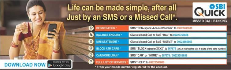 SBI Missed Call Banking Numbers