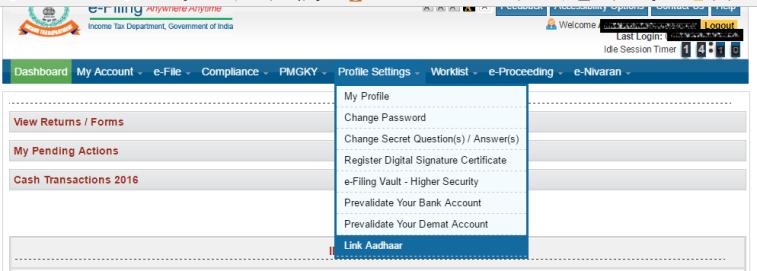 Link Aadhaar to PAN on Income Tax efiling Website