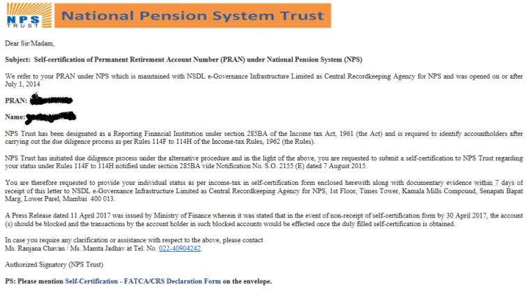 NPS FATCA Self Declaration email