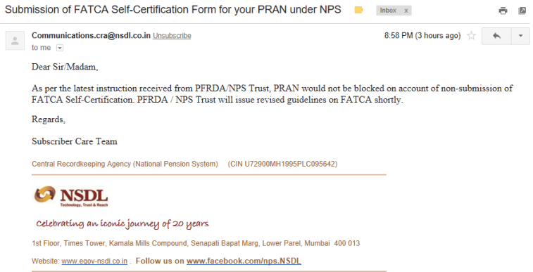 Submission of FATCA Self-Certification Form for your PRAN under NPS - Account NOT to be blocked