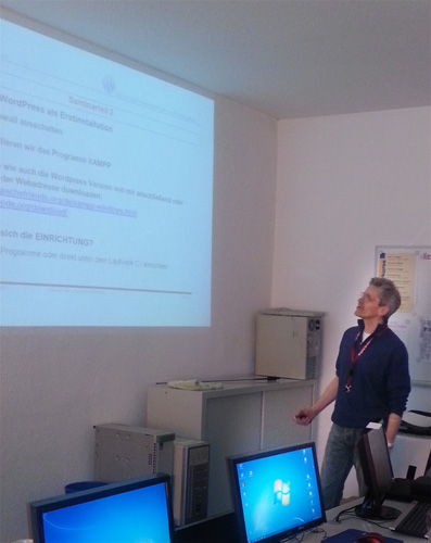 Wordpress-Seminar mit Detlef Apolinarski, Foto: H. Schulz