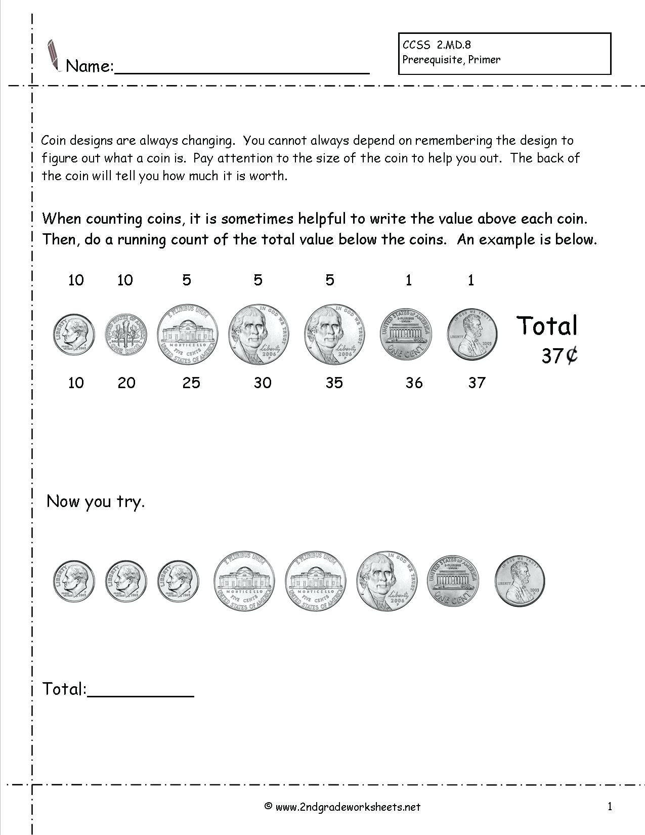 5 Free Math Worksheets First Grade 1 Counting Money